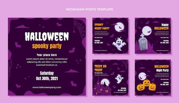 Collezione di post di instagram di halloween piatto disegnato a mano