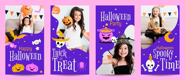 Hand drawn flat halloween instagram stories collection with photo