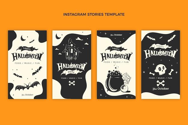 Hand drawn flat halloween instagram stories collection