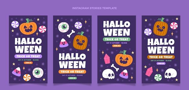 Collezione di storie di instagram di halloween piatto disegnato a mano