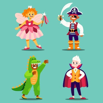 Hand drawn flat halloween kids collection in costumes