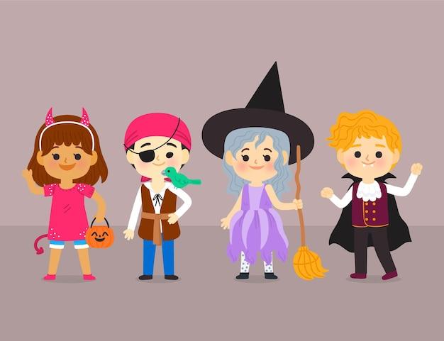 Плоская коллекция рисованной хэллоуин детей