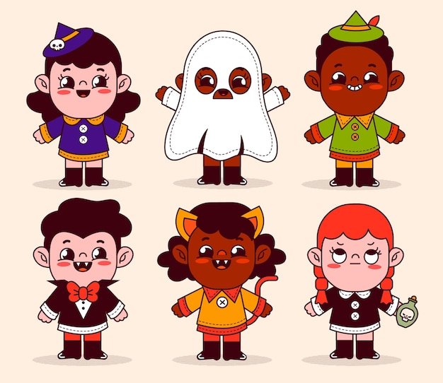 Hand drawn flat halloween kids collection