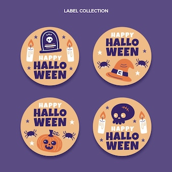 Hand drawn flat halloween labels collection
