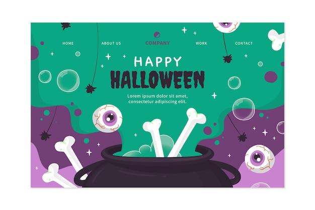 Ручной обращается плоский шаблон целевой страницы хэллоуина