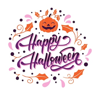 Hand drawn flat halloween lettering