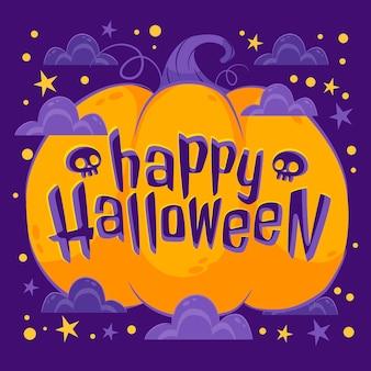 Iscrizione di halloween piatta disegnata a mano