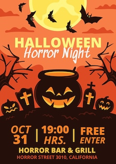 Hand drawn flat halloween party poster template