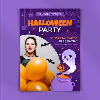 Hand drawn flat halloween party vertical flyer template