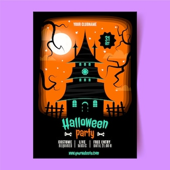 Hand drawn flat halloween party vertical poster template