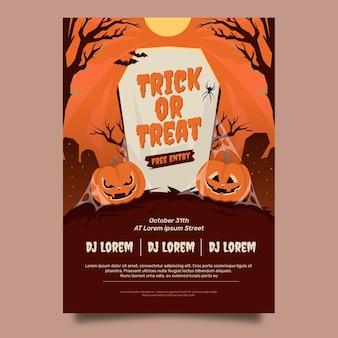 Modello di manifesto verticale piatto festa di halloween disegnato a mano