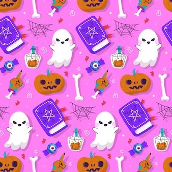 Hand drawn flat halloween pattern design