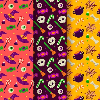 Hand drawn flat halloween patterns collection