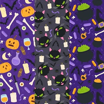 Collezione di modelli di halloween piatti disegnati a mano