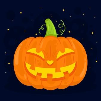 Нарисованная рукой плоская иллюстрация тыквы хэллоуина Бесплатные векторы