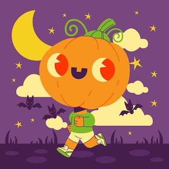Hand drawn flat halloween pumpkin illustration