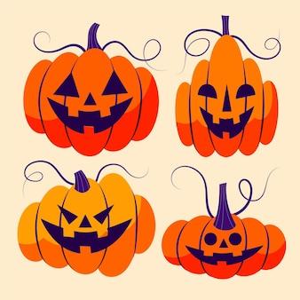 Hand drawn flat halloween pumpkins collection