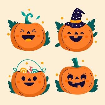 Коллекция рисованной плоских тыкв на хэллоуин