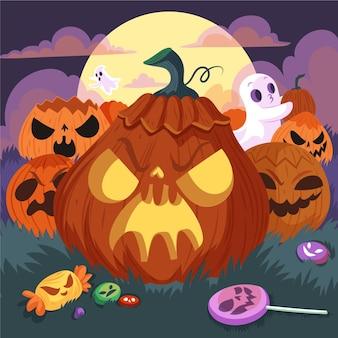 Нарисованная рукой плоская иллюстрация тыквы хэллоуина