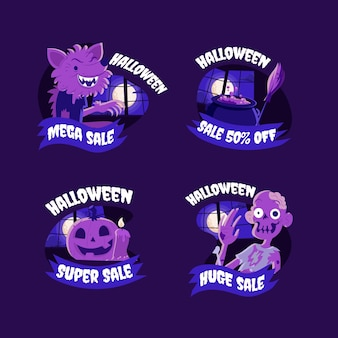 Hand drawn flat halloween sale badges collection