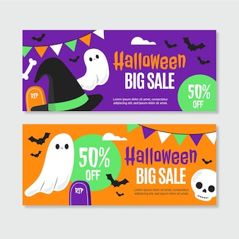 Set di banner di vendita di halloween piatto disegnato a mano