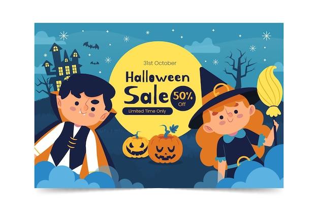 Hand drawn flat halloween sale horizontal banner
