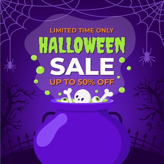 Hand drawn flat halloween sale illustration