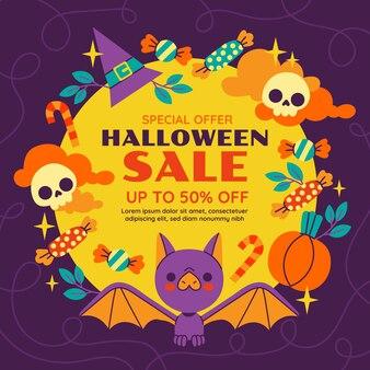 Нарисованная рукой плоская иллюстрация продажи хэллоуина