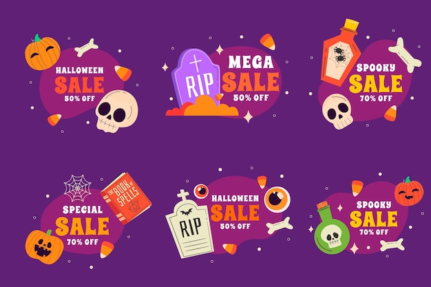 Hand drawn flat halloween sale labels collection