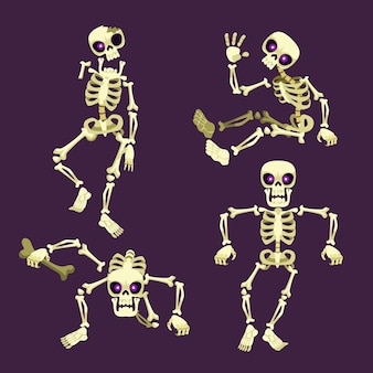 Hand drawn flat halloween skeletons collection