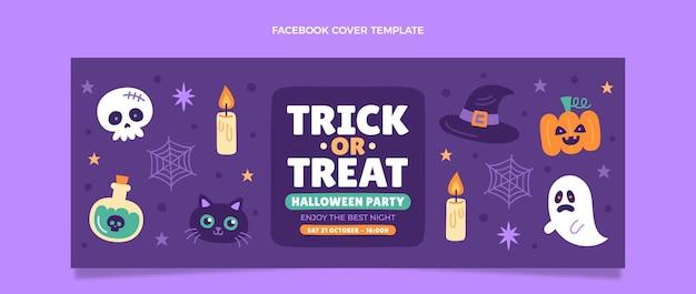 Hand drawn flat halloween social media cover template