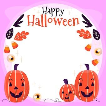 Hand drawn flat halloween social media frame template