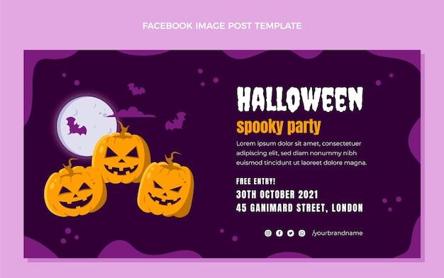 Hand drawn flat halloween social media post template