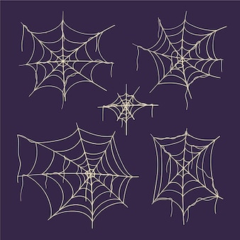 Hand drawn flat halloween spider webs collection