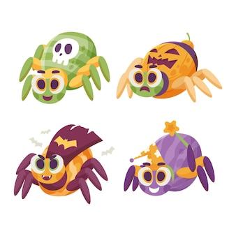 Коллекция рисованной плоских пауков хэллоуина