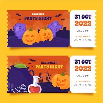 Коллекция рисованной плоских билетов на хэллоуин