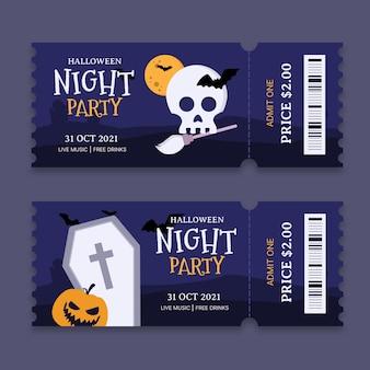 Hand drawn flat halloween tickets set