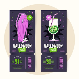 Hand drawn flat halloween tickets template