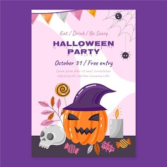 Hand drawn flat halloween vertical party flyer template