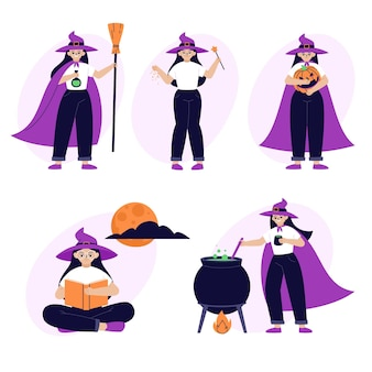 Hand drawn flat halloween witches collection
