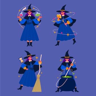 手描きフラットハロウィン魔女コレクション