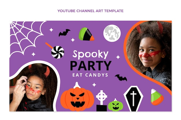 Hand drawn flat halloween youtube channel art