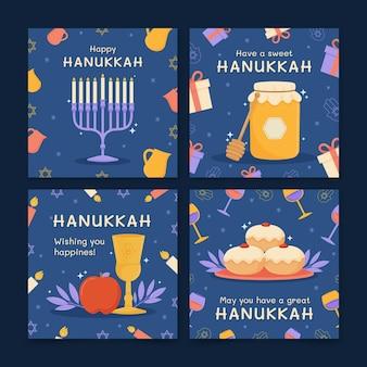Нарисованная рукой плоская коллекция сообщений хануки в instagram