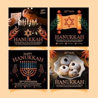 Collezione di post di instagram di hanukkah piatta disegnata a mano