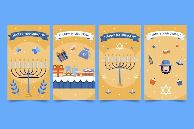 Raccolta di storie di instagram di hanukkah piatta disegnata a mano