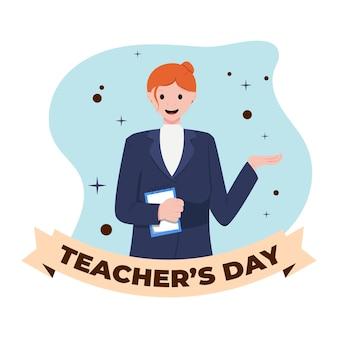 手描きの平らな幸せな先生の日