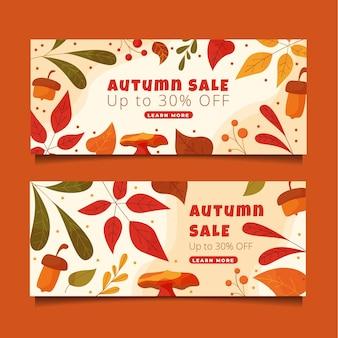 Hand drawn flat horizontal autumn banners set