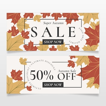 Hand drawn flat horizontal autumn sale banners set