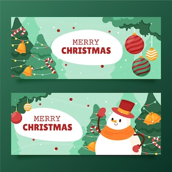 Hand drawn flat horizontal christmas banners set