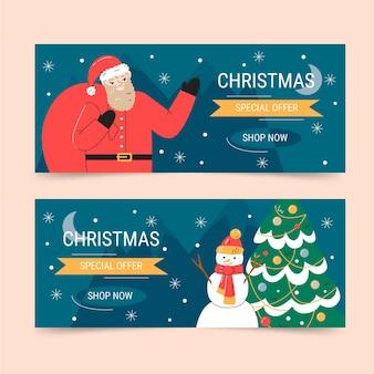 Набор рисованной плоских горизонтальных рождественских баннеров